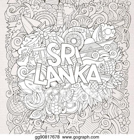 Line Art Sri Lankan Traditional Art Designs Vector