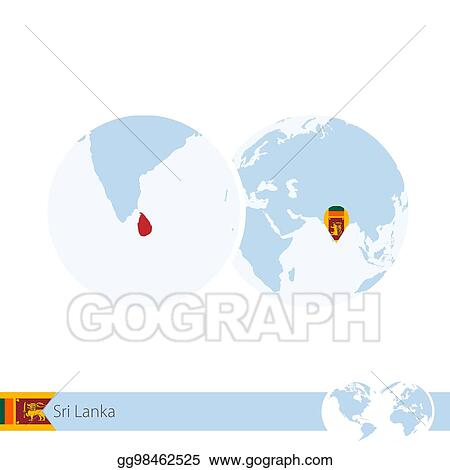 Vector Stock Sri Lanka On World Globe With Flag And Regional Map