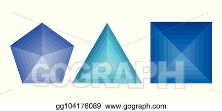 Vector Clipart - St of 3d geometric shapes with metamorphoses
