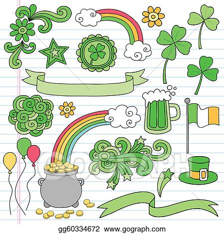 Vector Illustration St Patricks Day Doodles Icon Vector Stock Clip Art Gg60334672 Gograph