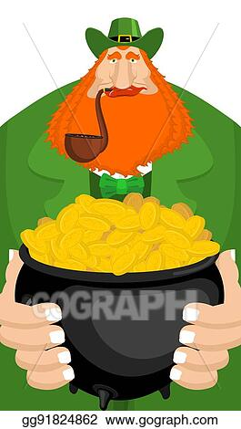 06b0c1947e7 Leprechaun and pot of gold. Magic dwarf and boiler of golden coins.  National Holiday in Ireland. Traditional Irish Festival