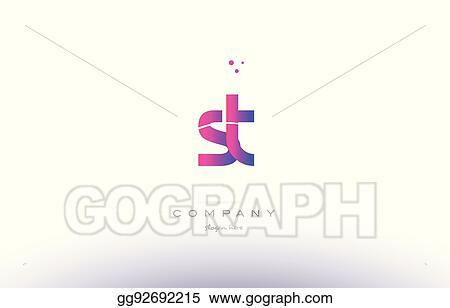 Vector Stock St S T Pink Modern Creative Alphabet Letter