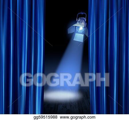 Blue Stage Curtains Spotlight
