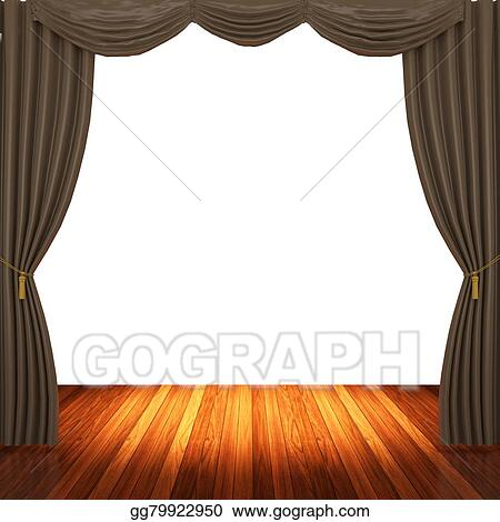 Stock Illustration Stage With Brown Curtains Clipart Gg79922950 Rh Gograph Com Curtain Clip Art Black And