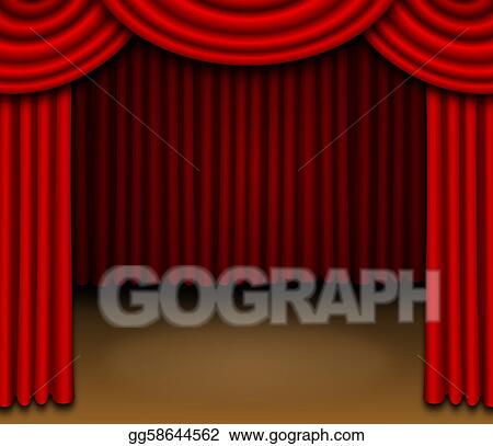 Stage With Red Draped Curtains
