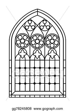 Clip Art Vector - Stained glass window colouring page. Stock EPS ...