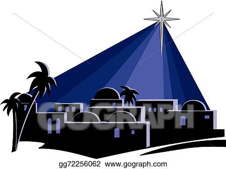 vector illustration star over bethlehem stock clip art gg72256062 rh gograph com o little town of bethlehem clipart Innkeeper Clip Art