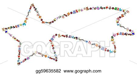 Eps Illustration Star With Toys Border Vector Clipart Gg59635582
