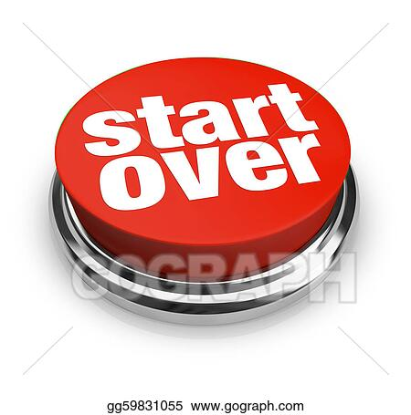 Drawing Start Over Renewal Restart Round Red Button Clipart