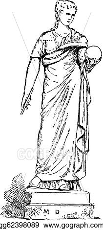 Statue Of Urania Muse Astronomy Vintage Engraving