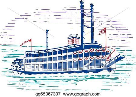 eps vector steam boat stock clipart illustration gg65367307 gograph