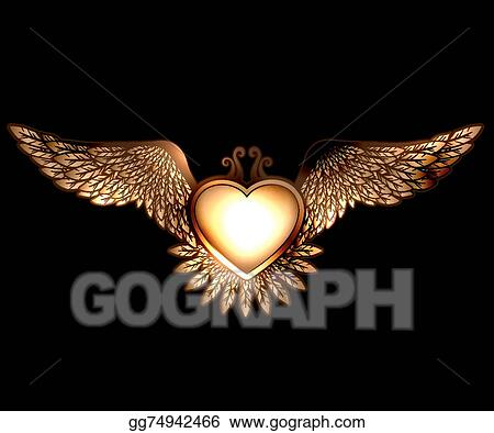 Eps Vector Steam Pun Style Heart With Wings Stock Clipart