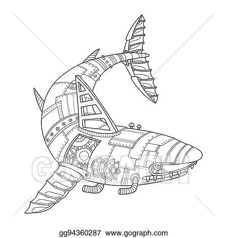 Vector Clipart - Steam punk style shark coloring book vector. Vector ...