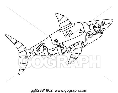 vector stock ste unk style shark coloring book vector stock  ste unk style shark coloring book vector