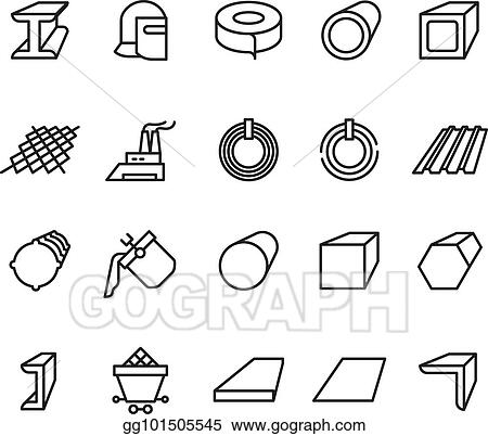 eps illustration steel material products line vector icons steel