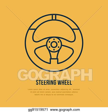 vector clipart steering wheel vector line icon car racing logo driving lesson vector illustration gg91519571 gograph https www gograph com clipart license summary gg91519571