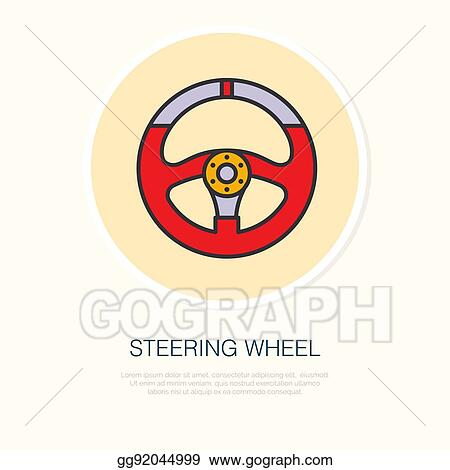 bdb2abe276d805 Steering wheel vector line icon. Car racing logo, driving lessons sign.  Automobile parts illustration
