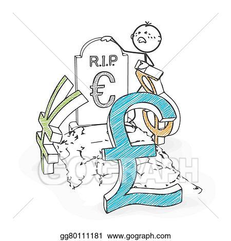 Vector Illustration Stick Figure Cartoon Stickman Mourns The