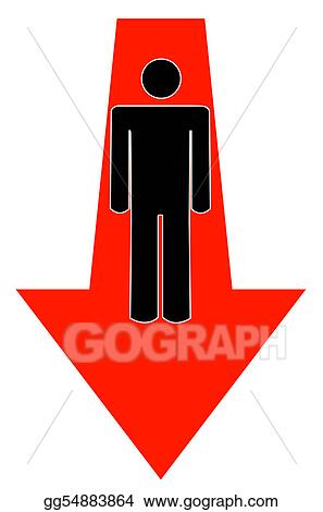 Arrow Pointing Down >> Stock Illustration Stick Man Or Figure With Arrow Pointing Down