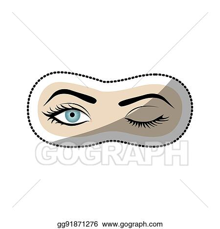 vector stock sticker color silhouette with wink woman eye stock rh gograph com Large Winking Eye Clip Art Animated Winking Eyes Clip Art