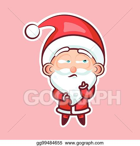 sticker emoji emoticon emotion depression resentment view from under forehead vector character sweet cute santa claus father frost pink background for