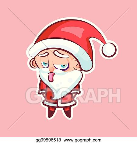 sticker emoji emoticon emotion show tongue with sour face vector isolated illustration character unhappy sweet cute santa claus father frost for happy new