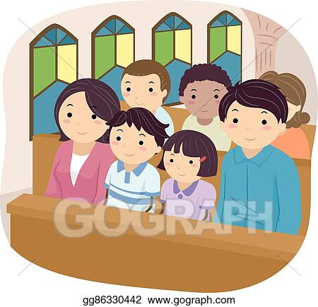 Family church. Vector clipart stickman illustration