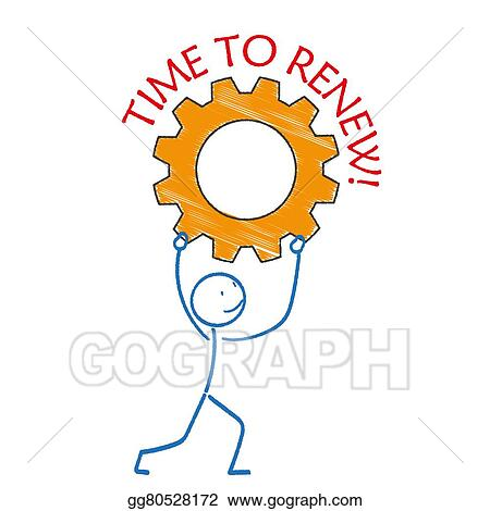 Stock Illustration Stickman Gear Time Renew Clipart Gg80528172