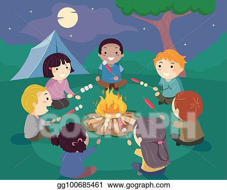 It is an image of Simplicity All Of The Kid Sit Around The Fire Drawing