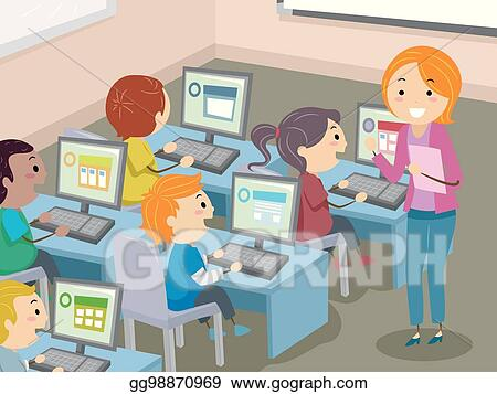 Stickman Kids Computer Lab Illustration