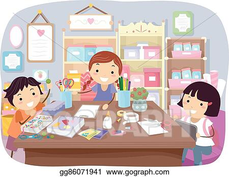 Eps Vector Stickman Kids Craft Room Stock Clipart Illustration Gg86071941 Gograph