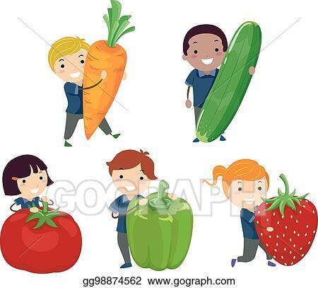 vector stock stickman kids fruits vegetables illustration clipart