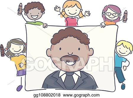 Vector Stock Stickman Kids Martin Luther King Drawing Stock Clip