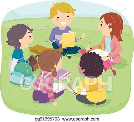 Clip Art Vector Stickman Kids Outdoor Group Study Stock