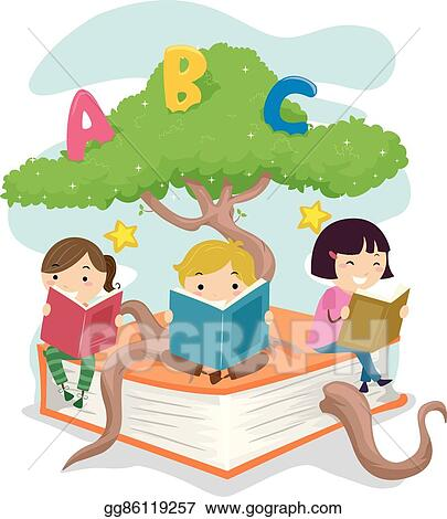 Eps Vector Stickman Kids Read Tree Book Stock Clipart
