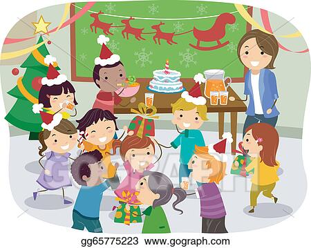 Vector Art Stickman Kids School Christmas Party Clipart Drawing