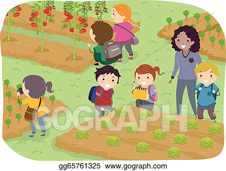 stickman kids school trip to vegetable garden - Garden Clipart
