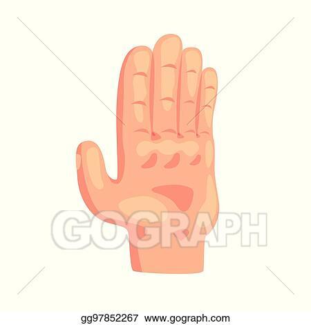 Vector Art Stop Gesture Hand Sign Cartoon Vector Illustration Eps