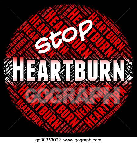 Drawing - Stop heartburn shows acid indigestion and control  Clipart