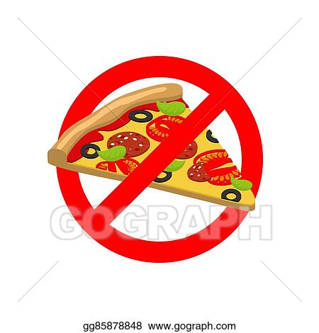 Vector Art Stop Pizza Forbidden Fast Food Crossed Out