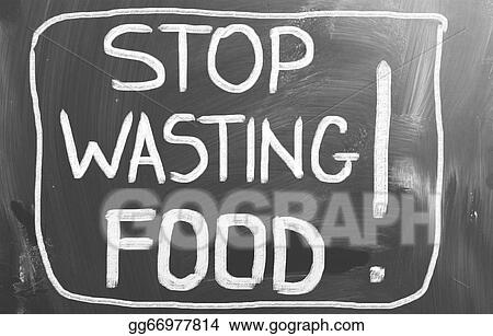 Clipart - Stop wasting food concept. Stock Illustration ...