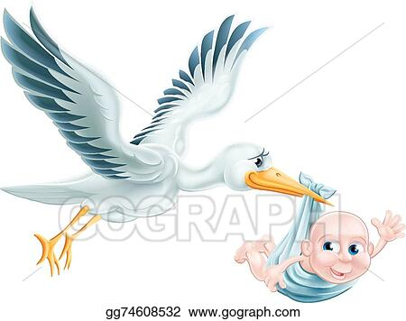 vector illustration stork and baby flying cartoon eps clipart