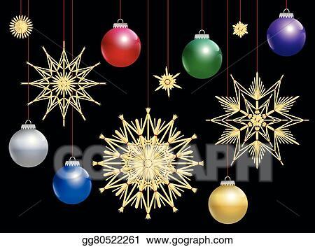 Colorful Christmas Balls.Vector Art Straw Stars Colorful Christmas Balls Night Eps