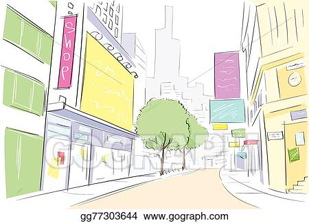 Vector Stock Street City View Draw Sketch Shops Colorful Buildings