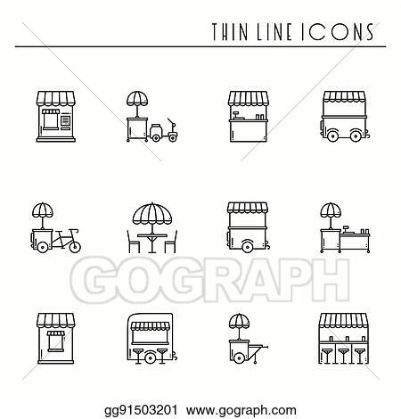 vector stock street food retail thin line icons set food truck
