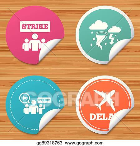 Vector Illustration - Strike icon  storm weather and group of people