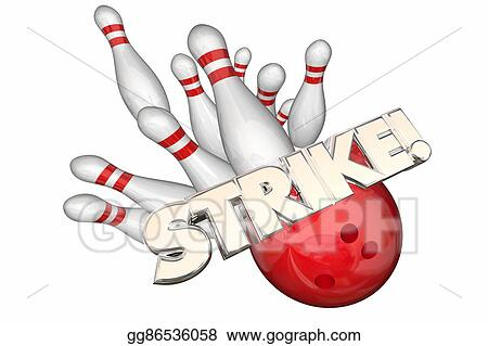 Bowling word. Stock illustrations strike ball