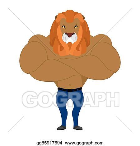 EPS Illustration - Strong lion king of beasts  wild animal athlete