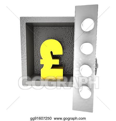 Drawing Strongbox With British Pound Symbol Inside Clipart