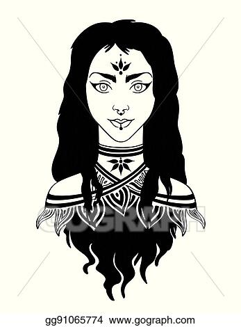 Vector Stock Stylish Beautiful Young Girl With Long Curly Hair Clipart Illustration Gg91065774 Gograph